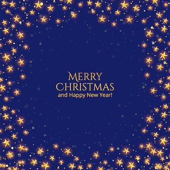 Merry christmas card with golden stars on blue