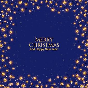 Веселая рождественская открытка с золотыми звездами на синем