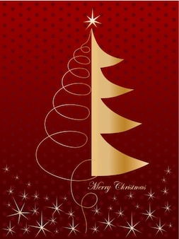 Merry christmas card with golden tree and red background
