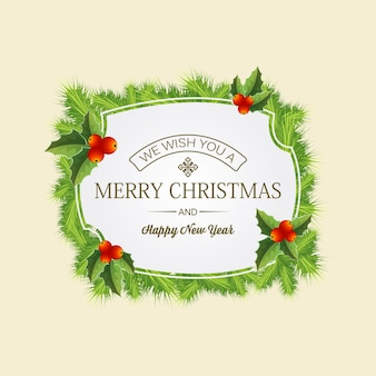 Merry christmas card with greeting in middle of coniferous wreath with mistletoe leaves