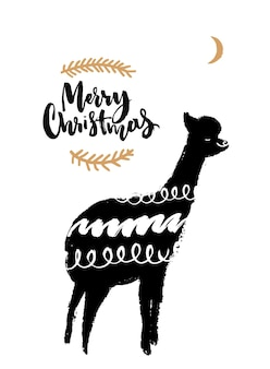 Merry christmas card with hand drawn lama illustration and brush calligraphy. funny greeting card.