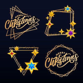 С рождеством христовым открытка с рисованной буквами и звездами на темном фоне. милый праздник золотой фон рамки
