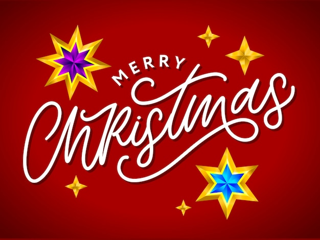 Merry christmas card with hand drawn lettering and stars on dark background