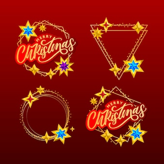Merry christmas card with hand drawn lettering and stars on dark background.
