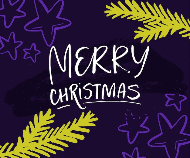 Merry christmas card with hand lettering and christmas tree branches green twigs stars on violet