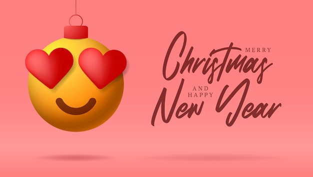 Merry christmas card with heart smile emoji face. vector illustration in flat style with xmas lettering and love heart emotion in christmas ball hang on thread on purple background