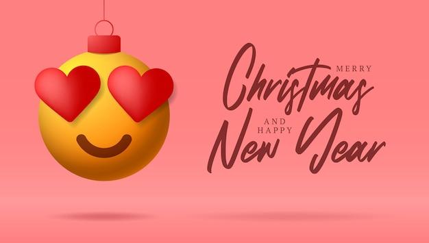 심장 미소 이모티콘 얼굴로 메리 크리스마스 카드. 크리스마스 공에 크리스마스 글자와 사랑의 마음 감정이 있는 플랫 스타일의 벡터 그림은 보라색 배경의 스레드에 매달려 있습니다.