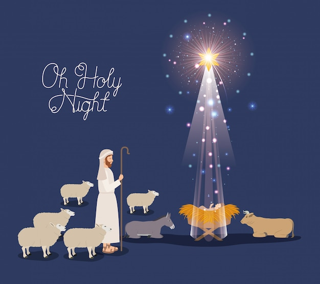 Merry christmas card with jesus baby and sheeper