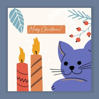 Merry christmas card with kitty cat and holiday elements and symbols