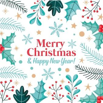 Веселая рождественская открытка с листьями и звездами. векторная иллюстрация