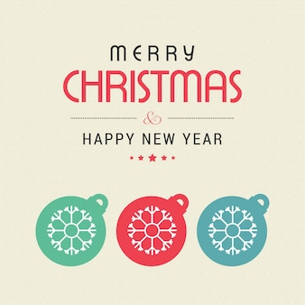 Merry christmas card with lettering decoration hanging christmas balls