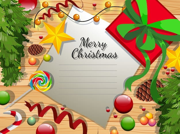 Merry christmas card with many ornaments