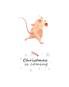 Merry christmas card with a mouse preparing for the holiday for christmas and new year