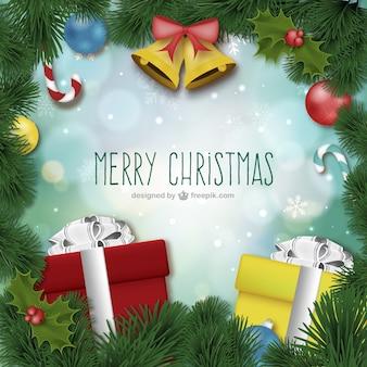 Веселая рождественская открытка с украшениями