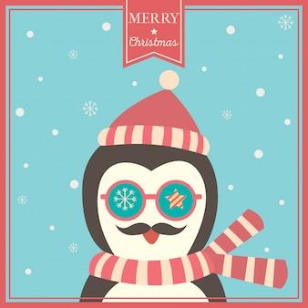 Рождественская открытка с пингвином