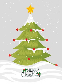 Merry christmas card with pine tree