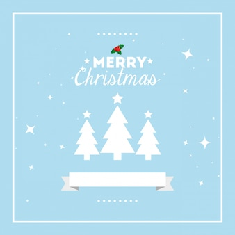 Merry christmas card with pine trees and ribbon