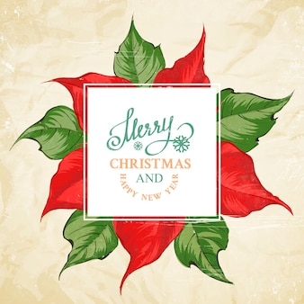 Merry christmas card con motivo floreale poinsettia