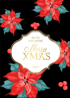 Merry christmas card with poinsettia flower pattern