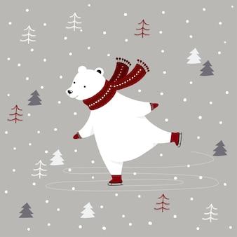 Веселая рождественская открытка с белым медведем на коньках на открытом воздухе в зимнем лесу