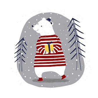 Merry christmas card with polar bear with a gift in winter forest