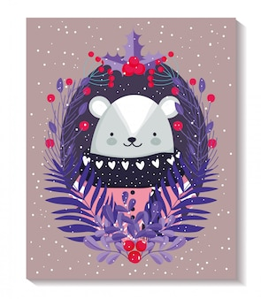 Merry christmas card with polar bear with sweater and leaves