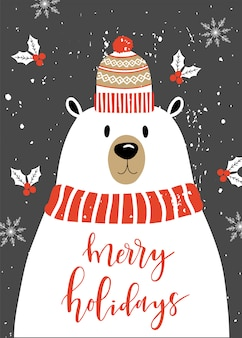 Merry christmas card with polar bear.