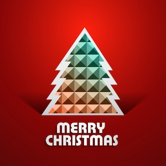 Merry christmas card with polygonal tree
