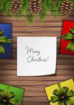 Merry christmas card with presents and pinecones
