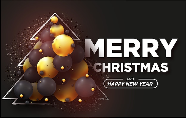 Merry christmas card with realistic 3d balls background