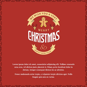 Merry christmas card with red background and typography vector