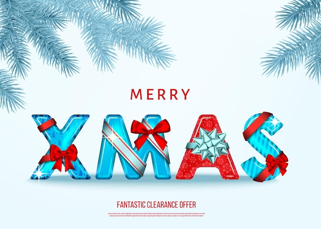 Merry christmas card  with red and blue decorative letters with  gift bow, ribbon  and silver  fir branch in  hoarfrost on white   background. xmas text. winter holiday decoration. vector template.