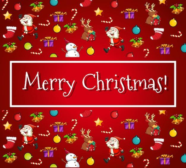 サンタと装飾品付きのメリークリスマスカード