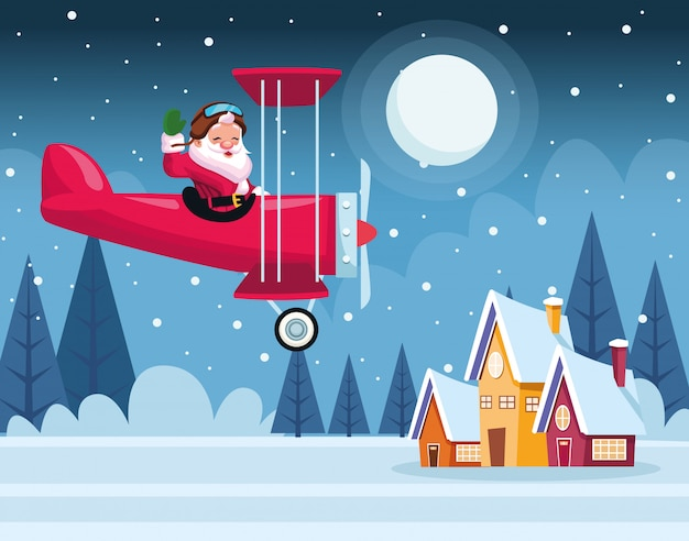 Merry christmas card with santa claus in airplane vector illustration design