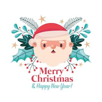 Веселая рождественская открытка с санта-клаусом и листьями. векторная иллюстрация