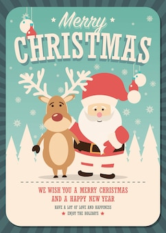 Merry Christmas card with Santa Claus and reindeer