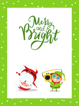 Merry christmas card with santa claus and elf