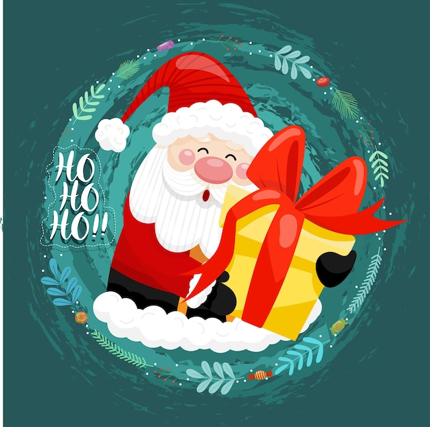 Merry christmas card with santa claus holding gift boxes in circle area