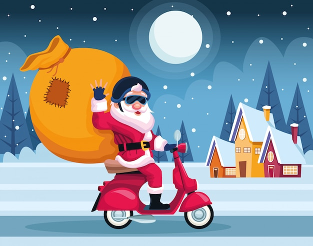 Merry christmas card with santa claus in motorcycle vector illustration design