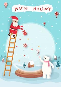 Merry christmas card with santa claus and polar bear on snow globe frame.