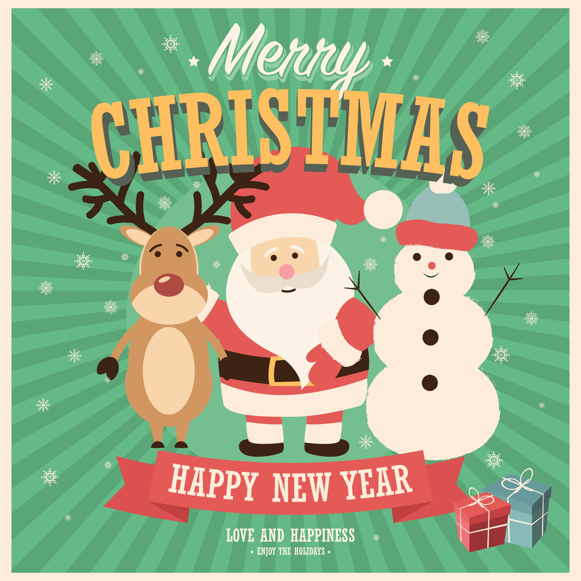 Merry Christmas card with Santa Claus, snowman