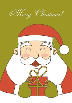 Merry christmas card with santa claus vector illustration