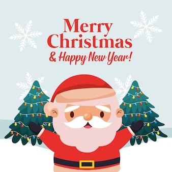 Веселая рождественская открытка с санта-клаусом. векторная иллюстрация
