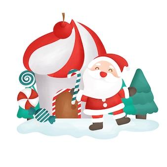 サンタクロースとお菓子の家のメリークリスマスカード。