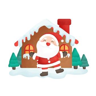 サンタクロースと家のメリークリスマスカード。