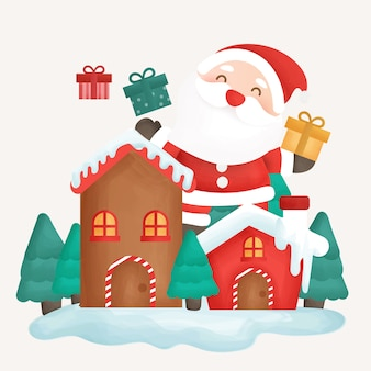サンタクロースと雪の町でメリークリスマスカード。