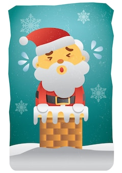 Merry christmas card with santa clause in chimney funny illustration
