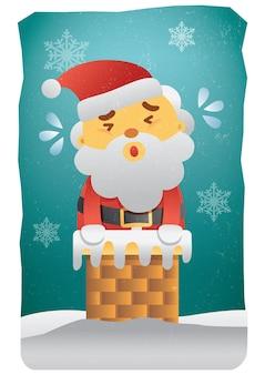 煙突面白いイラストのサンタクロースとメリークリスマスカード