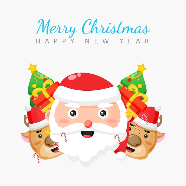 Merry christmas card with santa, reindeer and gift box