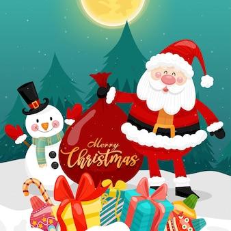 산타, 눈사람, 선물 상자와 함께 메리 크리스마스 카드.